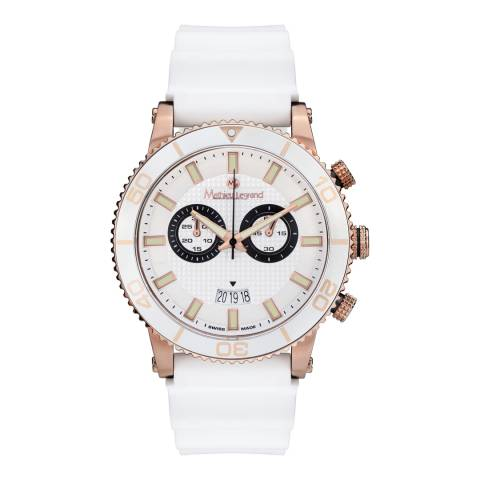 Mathieu Legrand Men's White/Rose Gold Stainless Steel/Silicone Immergee Watch