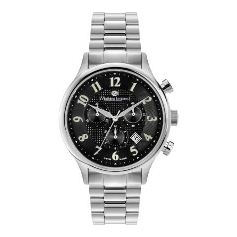 Mathieu Legrand Men's Silver/Black Stainless Steel Metropolitain Watch