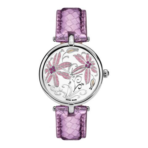 Mathieu Legrand Women's Purple/Silver Leather/Crystal Fleurs Volantes Watch