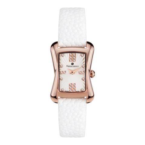 Mathieu Legrand Women's White/Rose Gold Leather Papillon Watch
