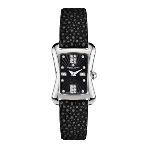 Mathieu Legrand Women's Black/Silver Leather Papillon Watch