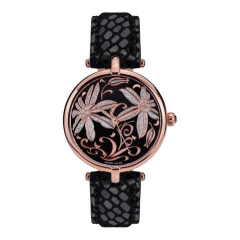Mathieu Legrand Women's Black/Rose Gold Leather/Crystal Fleurs Volantes Watch