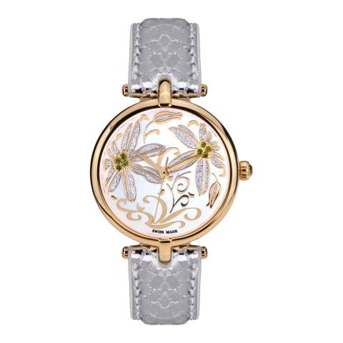 Mathieu Legrand Women's Silver/Gold Leather/Crystal Fleurs Volantes Watch