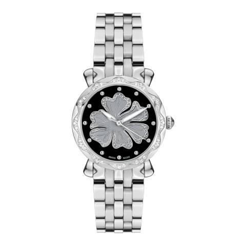 Mathieu Legrand Women's Silver/Black Nenuphar Crystal Bracelet Watch