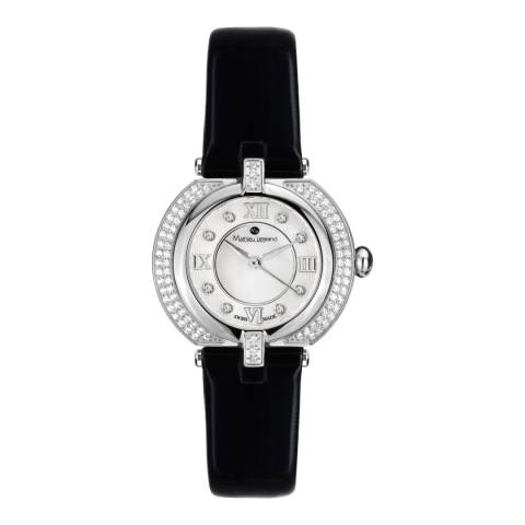Mathieu Legrand Women's Black/Silver Mother of Pearl/Crystal Mille Cailloux Watch
