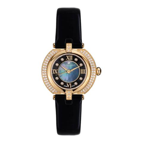 Mathieu Legrand Women's Black/Gold Mother of Pearl/Crystal Mille Cailloux Watch