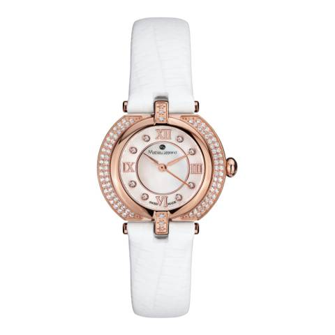 Mathieu Legrand Women's Rose Gold/White Mother of Pearl/Crystal Mille Cailloux Watch