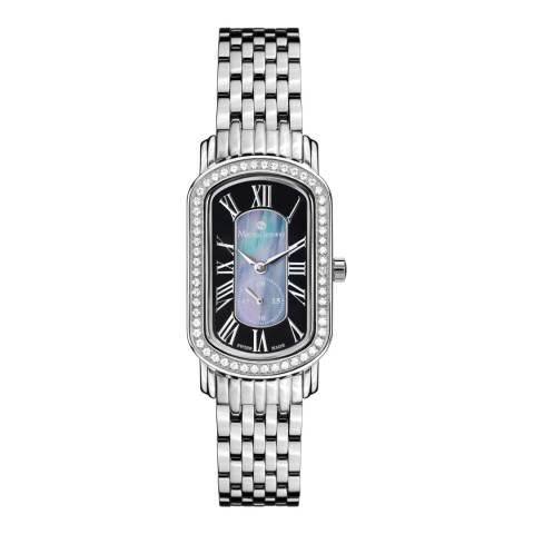 Mathieu Legrand Women's Silver/Black Crystal Oblong Bracelet Watch
