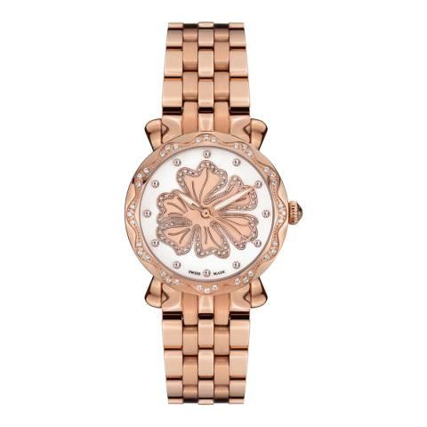 Mathieu Legrand Women's Rose Gold Nenuphar Crystal Bracelet Watch