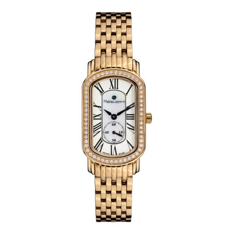 Mathieu Legrand Womens Gold Mother of Pearl Oblong Bracelet Watch