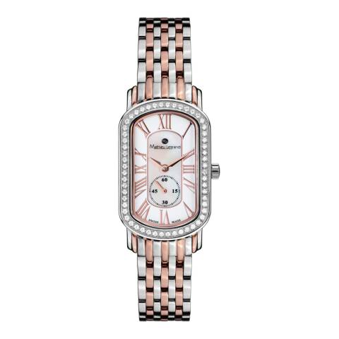 Mathieu Legrand Ladies Silver/Rose Gold Mother of Pearl Oblong Bracelet Watch