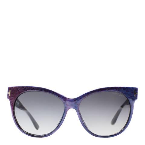 Tom Ford Women's Blue/Maroon Saskia Sunglasses 57mm