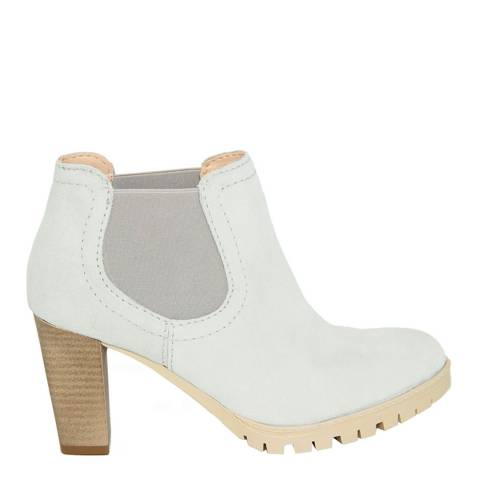 Eye White Leather Chelsea Boots Heel 8cm
