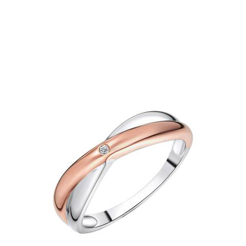 Carat 1934 Silver/Rose Gold Diamond Ring