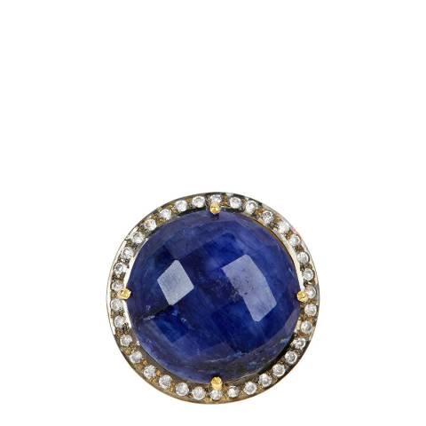 Liv Oliver 18K Gold Sapphire & Cz Statement Ring