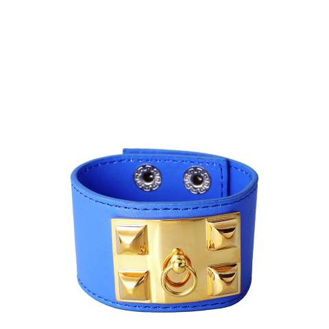 Chloe Collection by Liv Oliver Blue/Gold Leather Cuff Bracelet