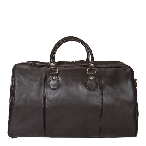 Medici of Florence Black Leather Travel Bag