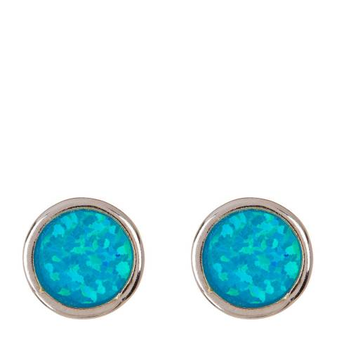 Alexa by Liv Oliver Opal And Silver Round Stud Earrings