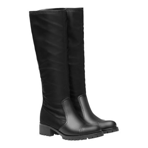 Prada Rossa Black Leather Toe Cap Long Boots Heels
