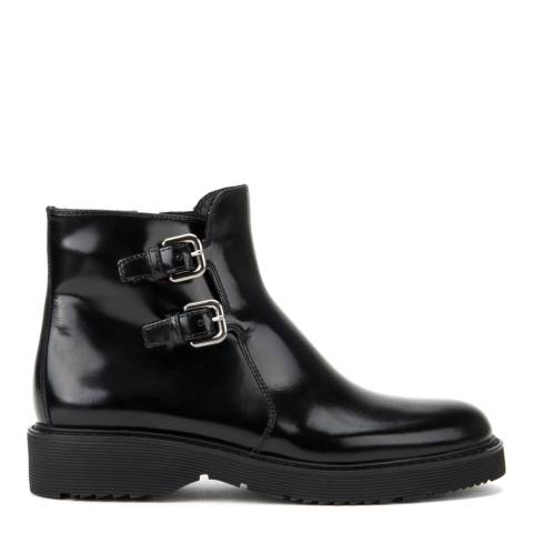 Prada Rossa Women's Black Leather Buckle Ankle Boots Heels