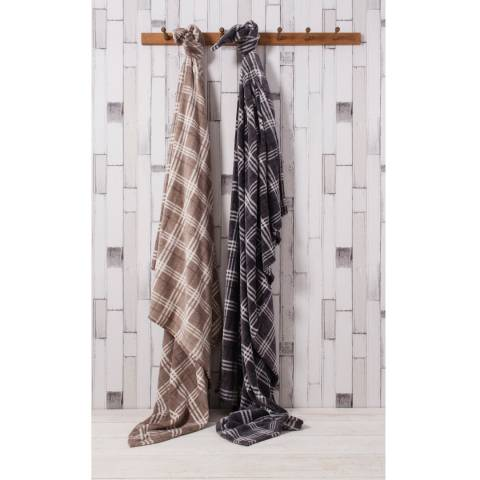 Gallery Grey Checkers Fleece Throw  140x180cm