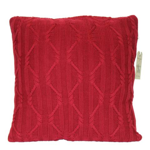 Kilburn & Scott Red Arran Knit Cushion  50x50 cm