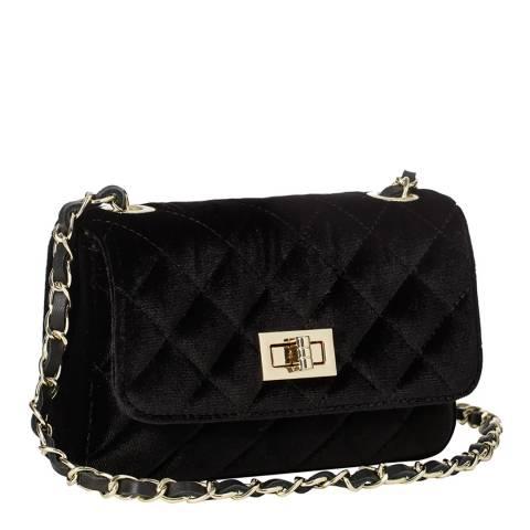 Massimo Castelli Black Velvet Diamond Stitch Shoulder Bag
