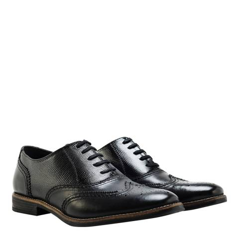 074f895291cf Mens Black Leather Embossed Oxford Brogues - BrandAlley