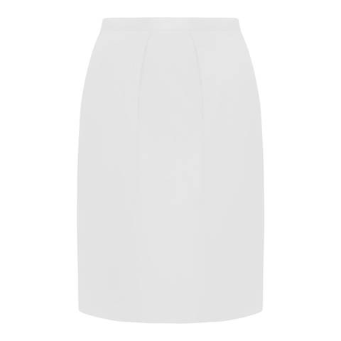 Jaeger White Cotton/Silk Balloon Pencil Skirt