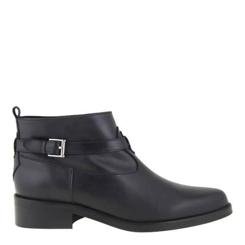 Mille Miglia Women's Black Leather Flat Ankle Boots Heel 3.5cm
