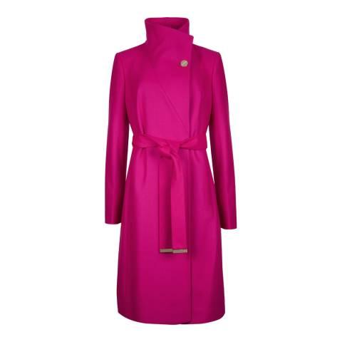 Ted Baker Pink Nevia Belted Wrap Wool Blend Coat