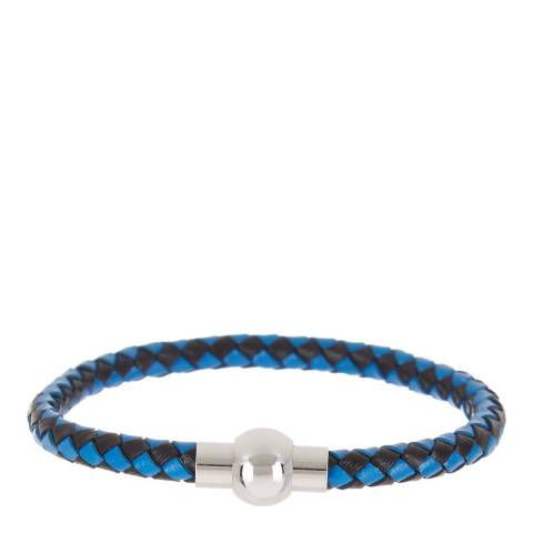Stephen Oliver Black/Blue Leather Woven Bracelet