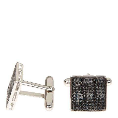 Stephen Oliver Black/Silver Micro Pave Cubic Zirconia Cufflinks