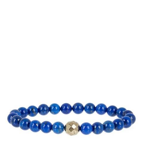 Stephen Oliver Blue/Gold Lapis/Pyrite Beaded Bracelet