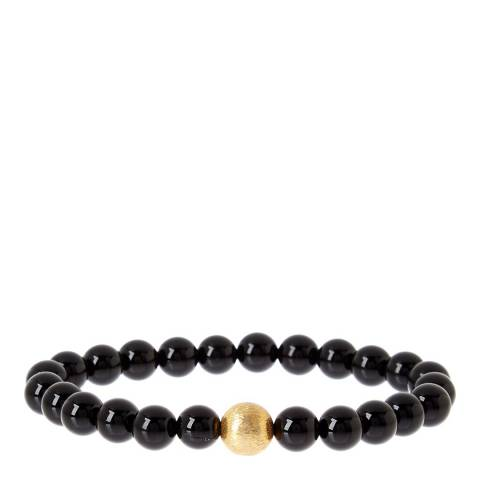Stephen Oliver Black/Gold Onyx Beaded Bracelet