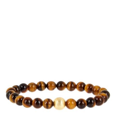 Stephen Oliver Brown/Gold Tiger Eye Beaded Bracelet