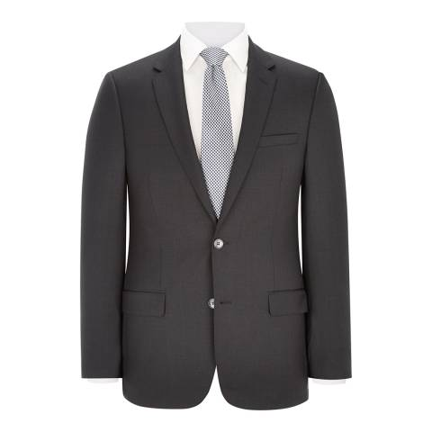 Austin Reed Charcoal Slim Fit Textured Wool Blend Suit Jacket