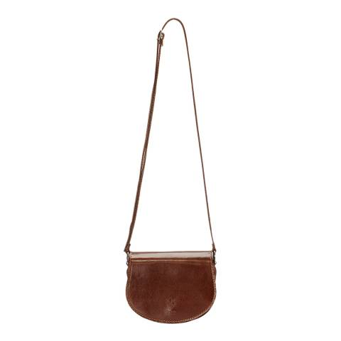 Giulia Massari Brown Polished Leather Crossbody Bag