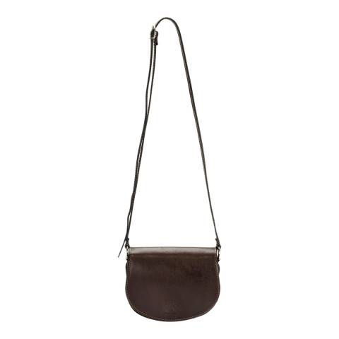Giulia Massari Dark Brown Polished Leather Crossbody Bag