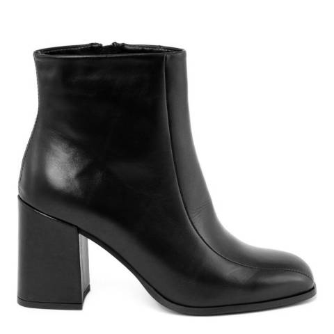 Gusto Black Leather Block Heel Tantra Boots