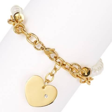 White label by Liv Oliver Gold Pearl and Link Charm Bracelet