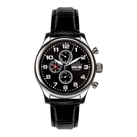 Hindenberg Men's Black Stainless Steel/Leather Excellence Watch