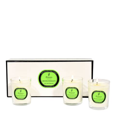 Parks London Set of Three Lime/Basil/Mandarin Aromatherapy Gift Candles