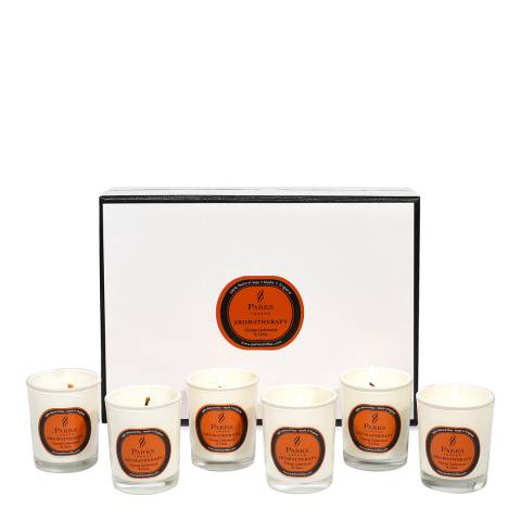 Parks London Set of Six Orange/Cedarwood/Clove Aromatherapy Gift Candles