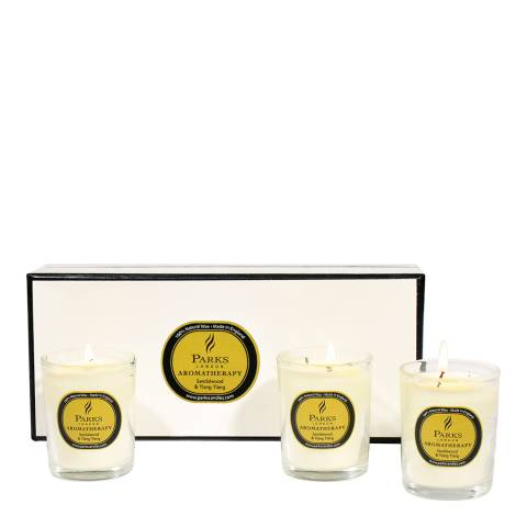 Parks London Set of Three Sandalwood/Ylang Ylang Scented Candles