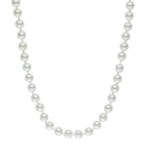 Pearls of London White Long Pearl Clasp Necklace