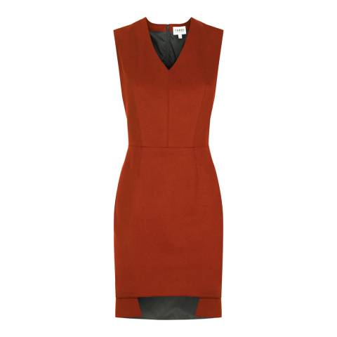 Farhi by Nicole Farhi Rust Red Wool Blend V Neck Melton Dress