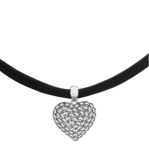 Saint Francis Crystals Silver/Black Heart Pendant Swarovski Crystal Elements Necklace