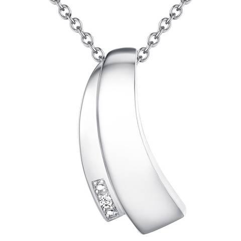 Tess Diamonds Sterling Silver Sparkling Curve Pendant Necklace