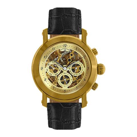 Andre Belfort Men's Gold/Black Intemporelle Leather Watch